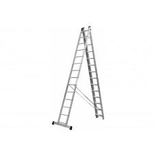 Лестница Сибин универсальная, трехсекционная со стабилизатором, 14 ступеней (38833-14)