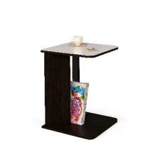 Столик Мегаэлатон Эдем-01 со стеклом венге/стекло белое