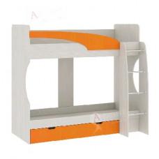 Кровать 2-х ярусная Атлант Карамель 77-02 Сосна карелия/Оранжевый