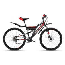 "Велосипед Black One Descender FS 26 D Alloy чёрный/красный/белый, рама-18"""