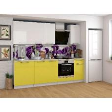 Набор кухонной мебели Мебель-Комплекс Ректа 2,4м Белый глянец/Груша